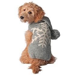 Clothing - Chilly Dog Handmade Alpaca Snowflake Dog Sweater Hoodie - Gray