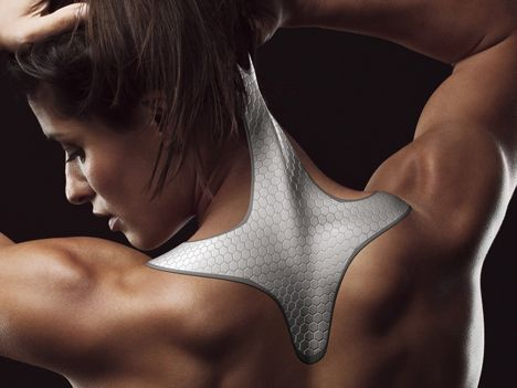 """Neck Frame - designed to absorb excessive force inflicted on the spine and attaches to the back and neck in a similar way to elastic sports tape. Layers of the strong and flexible carbon-based material, graphene, would provide rigidity that the designer claimed could enable it to """"act like a structural second skin""""."""