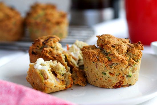 zucchini ham sun-dried tomato savoury muffins