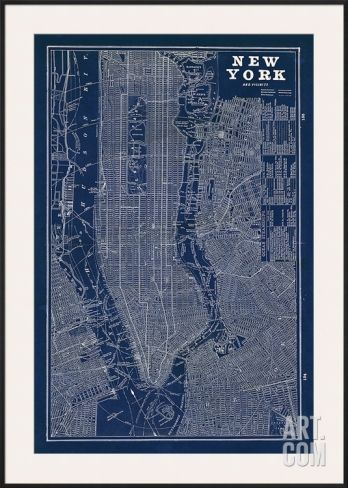96 best graphic city maps images on pinterest city maps art blueprint map new york framed art print by sue schlabach save up to 40 malvernweather Image collections