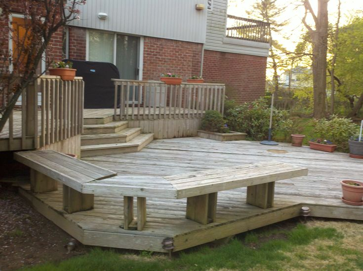 17 images about deck benches on pinterest wood decks for Decks and patios design ideas