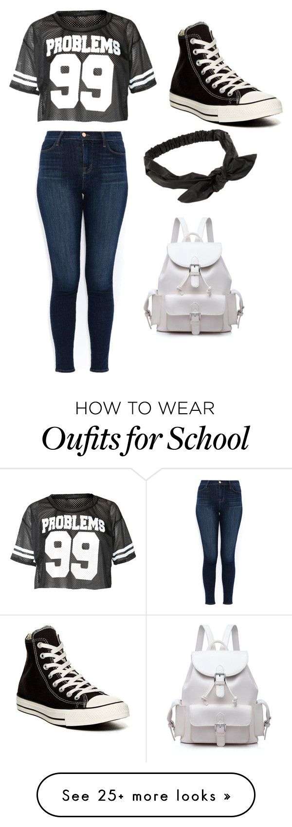 """School"" by heavenlyyy on Polyvore featuring J Brand, Converse and NLY Accessories"