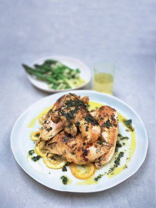I did this with a whole chicken cut up into pieces and served with jasmine rice. Mmmm! Herb Marinated Chicken   Chicken Recipes   Jamie Oliver Recipes