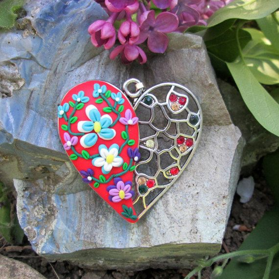 turquoise red polymer clay pendant fashion style trendy boho gift for her beautiful unique pendant polymer by FloralFantasyDreams