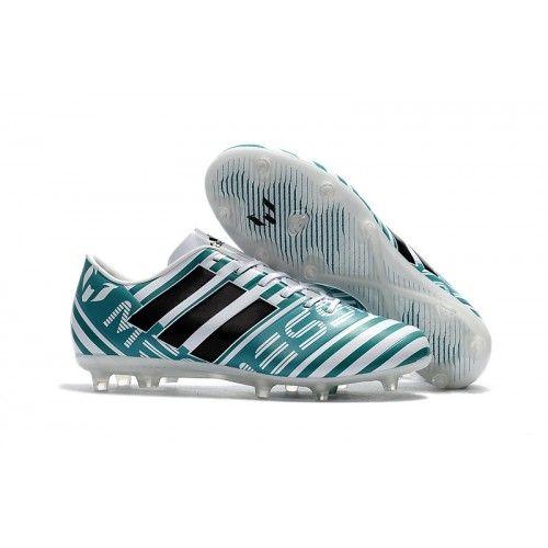 Adidas Messi Nemeziz 17.1 FG Billige Fodboldstøvler Blå Hvid Sort