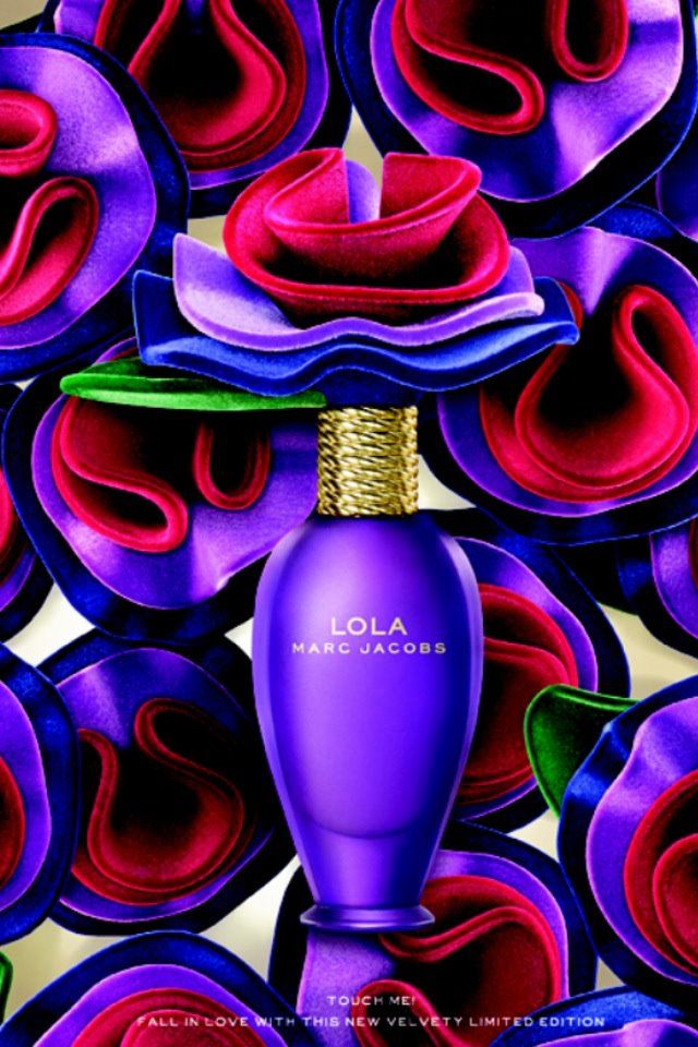 Marc Jacobs Lola - this visual is from the Lola Velvet edition. Same fragrance as original but with a matte purple bottle and velvet flower lid instead of the usual plastic.