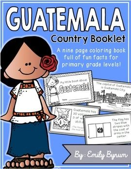 "This ""All About Guatemala"" booklet can be used for a very basic country study in lower elementary grades! Each page contains a basic fact along with a related illustration. All graphics are in an outline format so that it's ready to be colored like a mini-coloring book.This coloring booklet gives all the general/basic information about Guatemala, including:-geography-national flag-capital city of Guatemala City-Quetzal bird-volcanoes-Mayan Civilization-official language-favorite facts…"