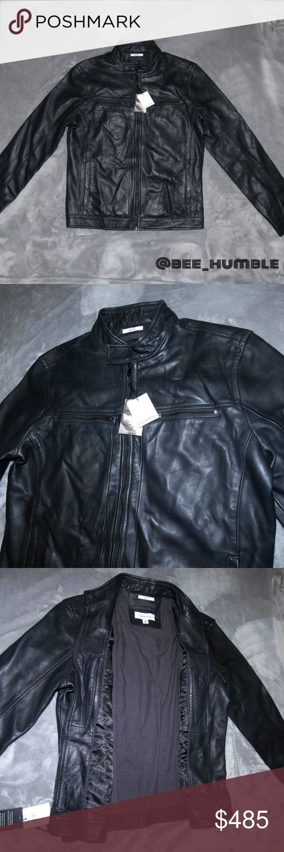 NWT CALVIN KLEIN Moto Leather Jacket Perfect brand NEW condition. Never Worn.  Soft buttery black leather. Slightly distressed. Look will only get better with time. A stylish staple piece.   Questions & reasonable offers welcome.   BUNDLE for best savings Calvin Klein Jackets & Coats Performance Jackets