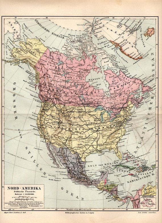1893 America Antique Map United States Canada Mexico Central America Caribbean Greenland Bahamas British North America Vintage Lithograph