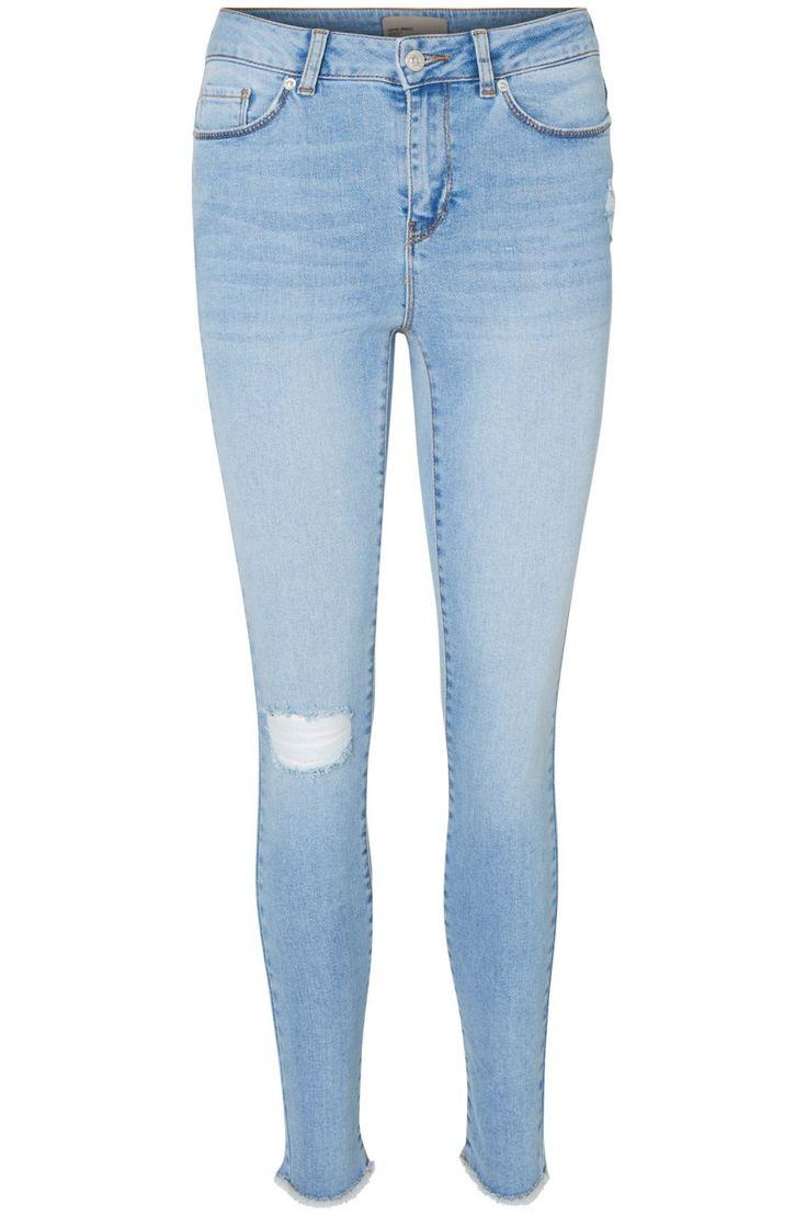 Vero Moda Damen Jeans VMSEVEN NW SS ANKLE RAW EDGE BA958 Skinny Fit - Blau - Light Blue Denim kaufen - JEANS-DIRECT.DE