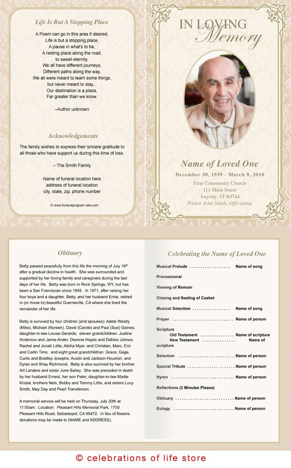 Memorial Pamphlet  Free Funeral Pamphlet Template