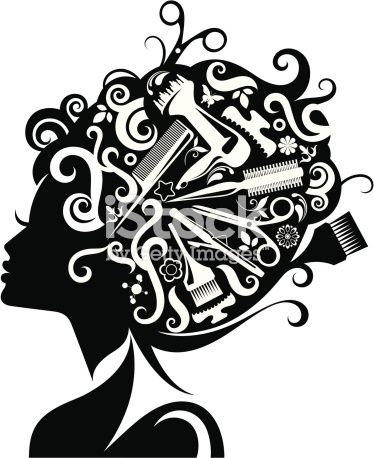 lady s silhouette with hairdressing accessories composed with her rh pinterest com