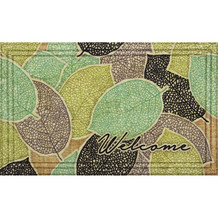 Naturelles Burlap Leaves Brown Door Mat (18 x 30) (Burlap Leaves-18x30), Size 1'5 x 2'5