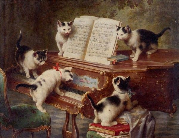 by Carl Reichert (1836–1918), Austrian animal painter. - The Era of the Romantic Cat Illustrations...