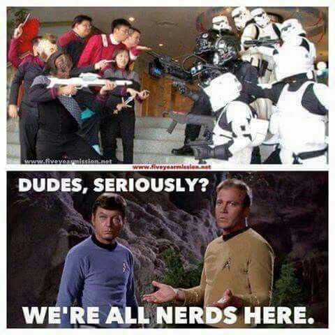 Star Wars vs Star Trek, humor, nerds