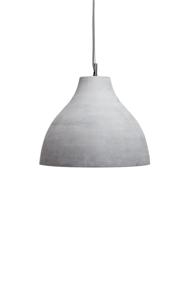 <ul> <li> Concrete pendant light</li> <li> Dome lampshade</li> <li> Zinc hardware</li> </ul>