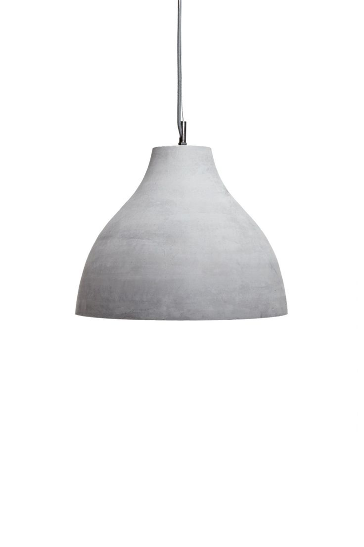<ul> <li> Concrete pendant light</li> <li> Dome lampshade</li> <li> Zinc hardware</li> </ul>