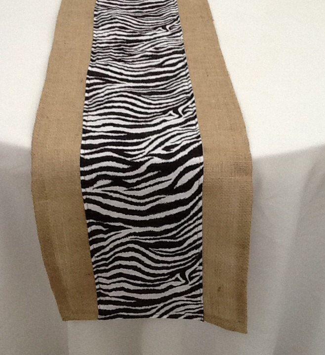Zebra Print And Burlap Table Runner, Custom Sizes Available, Home Decor,  Baby Shower