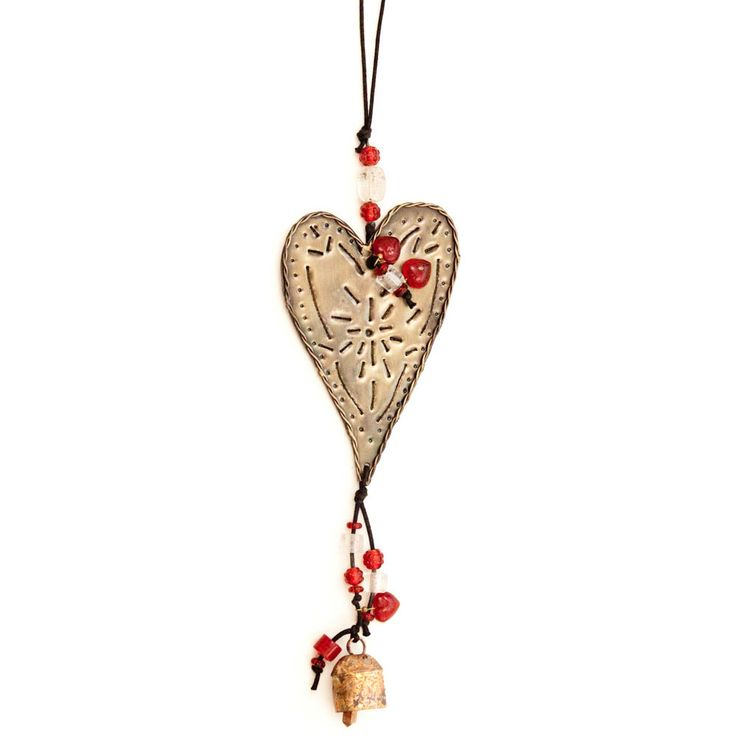 Maharani Imports Handmade Heart On The Wind   Wind Chime (India) (wind Chime,  Garden Decor, Patio Decor), Multi (Glass), Outdoor Décor