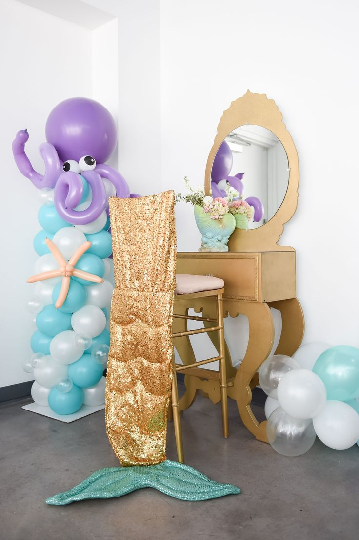 105 Balloon Column with Octupus Sea Creature, Gold Vanity with Gold Chiavari Chair Stool & Mermaid Tail Stool Dress- Event Planning: One Inspired Party