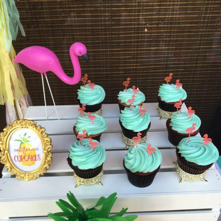 Cool cupcakes at a pineapples and pink flamingo birthday party! See more party ideas at CatchMyParty.com!