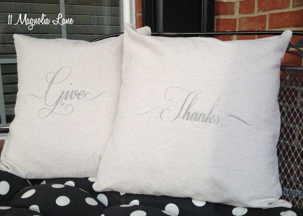 Give Thanks pillows at 11 Magnolia Lane