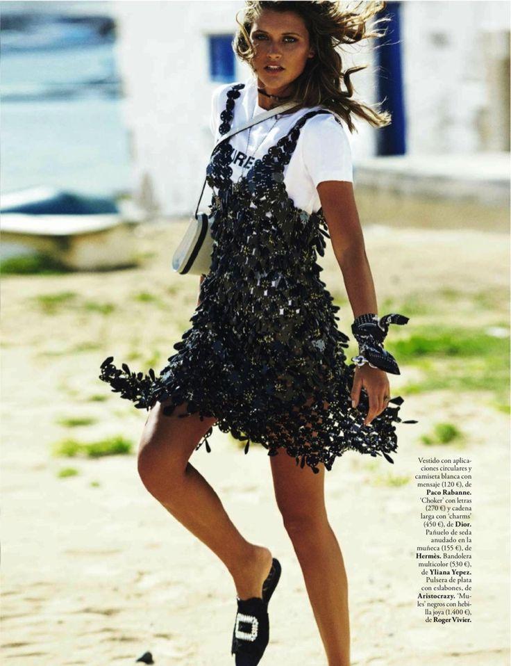 Chloe Lecareux by Mario Sierra for ELLE Spain April 2017 - Paco Rabonee applique dress with white t-shirt