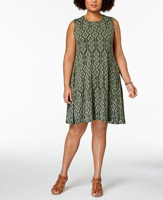 Shop Style & Co Plus Size Printed Trapeze Dress, Created for Macy\'s ...