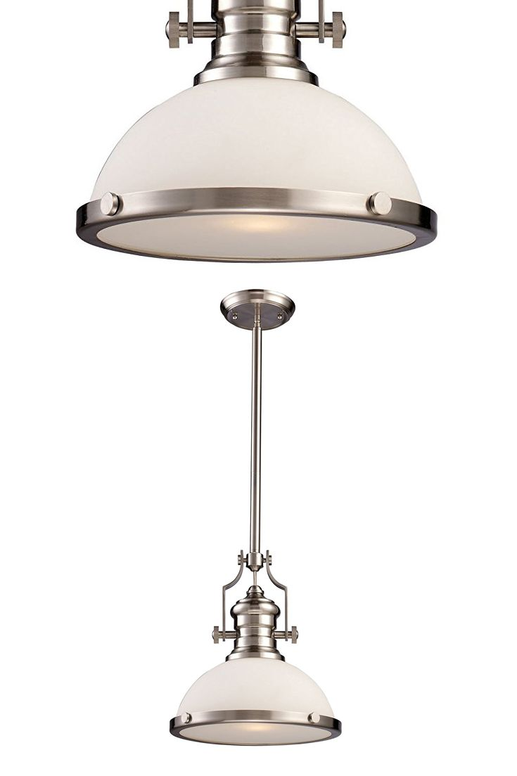 elk lighting chadwick satin nickel onelight pendant with frosted glass