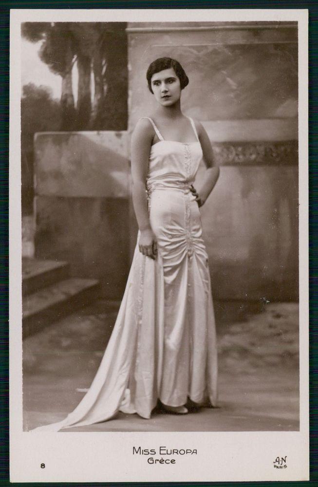 Miss Greece Beauty Contest Miss Europa Lady original old 1932 photo postcard
