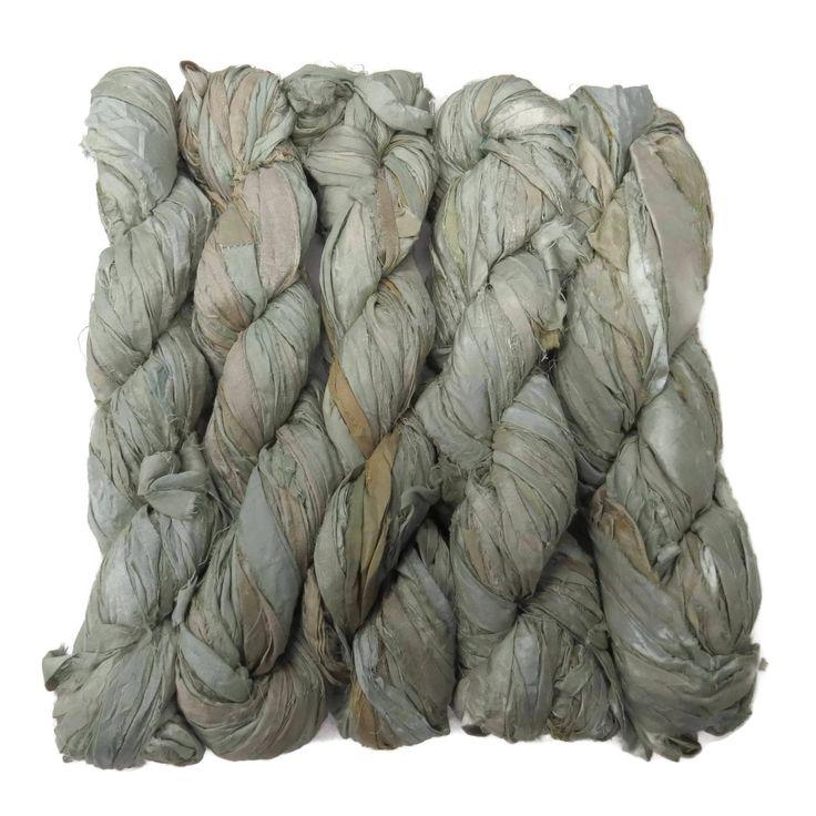 New! Premium Sari Silk Ribbon yarn , 100g , color: Mint