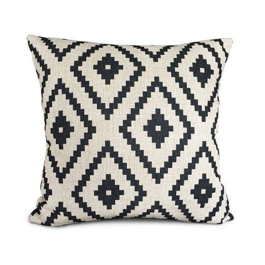 AAA A Uphome bianco e nero, geometria Accent Home-Plaid in poliestere, federa cuscino-Fodera per cuscino da divano, 45 cm