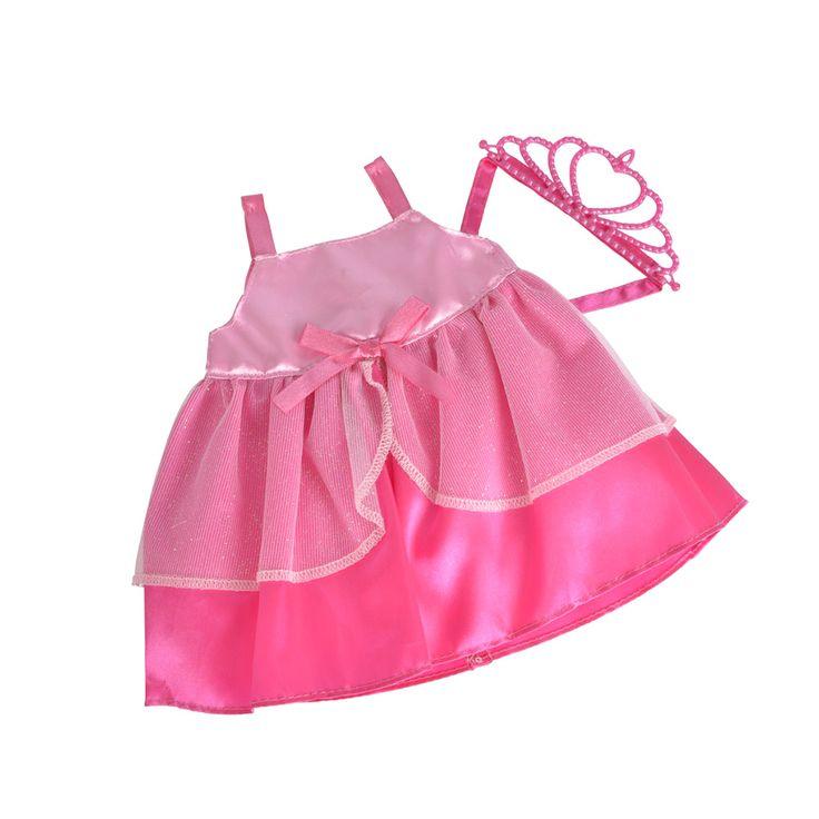 Maak je favoriete pop tot een echte prinses met deze mooie roze jurk, met een bijbehorend kroontje. De bandjes zijn van donkerroze lint gemaakt. Om de roze onderkant van het jurkje zijn mooie versiering met glitter aangebracht. Dat laat je pop er nog koninklijker uitzien! Een absolute must voor je collectie poppenkleertjes. Afmeting: 20 cm lang - New Born Baby Prinses Outfit - Roze