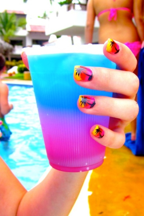 .: Nails Art, Nails Design, Palms Trees Nails, Beautiful, Beaches Nails, Palm Trees, Summer Nails, Drinks