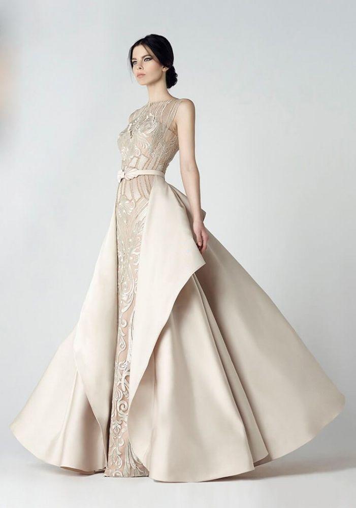 Saiid Kobeisy - 2907 Sleeveless Peplum A-Line Evening Gown (belt, pleated skirt, back zipper, illusion sweetheart neck, natural waist)