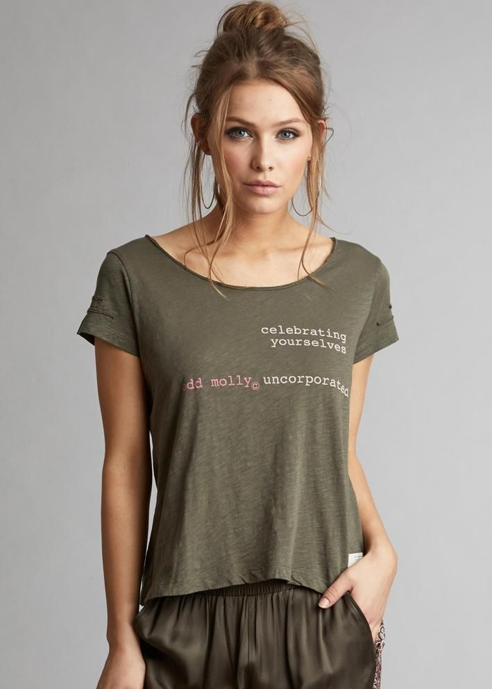 Odd Molly T-shirt 118M-273 Labelize s/s Top - dark cargo