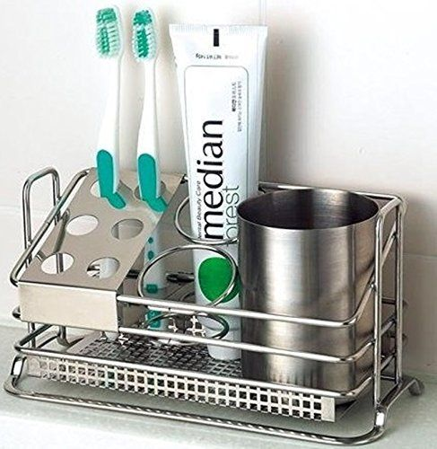 Stainless Steel Toothbrush Holder Stands Toothpaste Cup Storage Bathroom