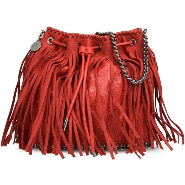 Stella McCartney Cherry Falabella Fringed Bucket Bag found on Polyvore featuring bags, handbags, shoulder bags, red, fringe shoulder bag, cherry purse, metallic shoulder bag, red handbags and fringe handbags
