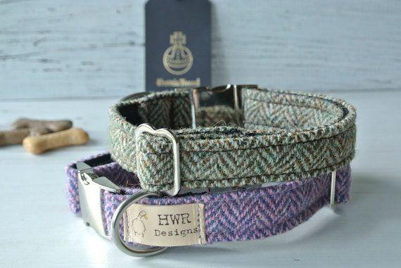 Harris Tweed Dog Collars Tweed Dog collar by HWRDesigns on Etsy
