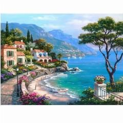 [ 34% OFF ] Frameless Mediterranean Sea Landscape Diy Painting By Numbers Kits Paint On Canvas With Wooden Framed For Home Wall Deocr Gift