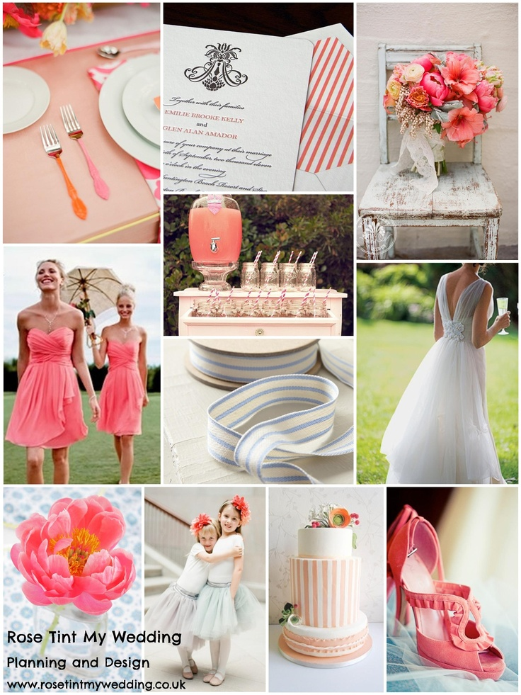 Hot new spring/summer trend: CORAL! Such a pretty colour that we had to give it it's very own moodboard and we've contrasted it with cool blue and summer stripes to keep it fresh and bright. Visit www.rosetintmywedding.co.uk for bespoke wedding planning and design, or your very own mood board!