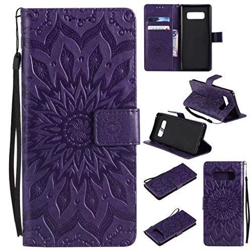 For Galaxy Note 8 Wallet Case Sun Pattern Embossed PU Leather Kickstand Purple #Aslim