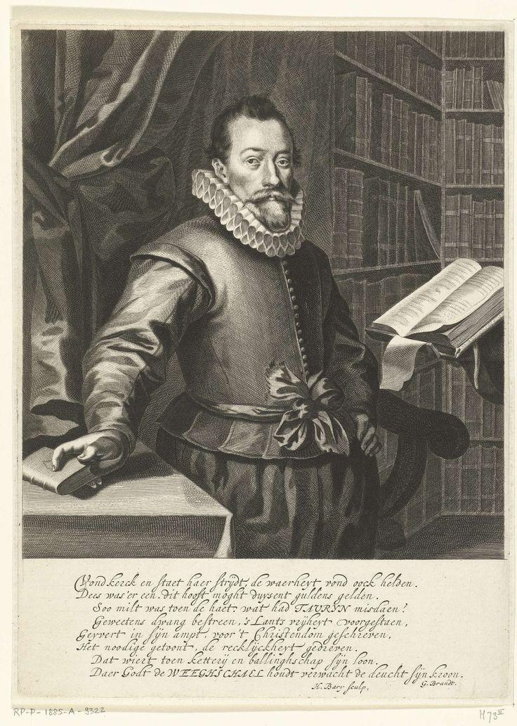 Hendrik Bary   Portret van Jacobus Taurinus, Hendrik Bary, Geeraert Brandt (I), 1657 - 1707   Portret van Jacobus Taurinus, staand aan een lessenaar in een bibliotheek. Onder het portret een vers van acht regels in het Nederlands.