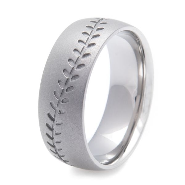 Men's Gunmetal Titanium Baseball Stitch Ring
