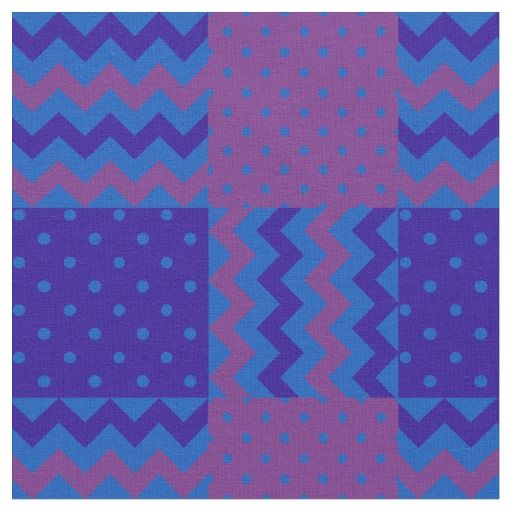 A chic Faux Patchwork fabric, with a pattern of Plum, Midnight Blue and Lighter Blue Chevrons and Polka Dots. Part of the Posh & Painterly 'Purple Pop' collection: up to $27.95 per yard - http://www.zazzle.com/plum_midnight_and_blue_chevrons_and_polka_dots-256502957524111018?rf=238041988035411422&tc=pintw