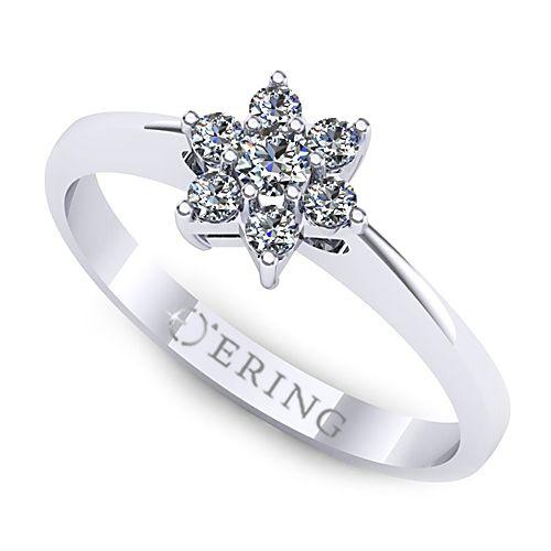 Inelul este realizat din aur alb 14k, greutate: ~1.70gr.                                     Produsul are in componenta sa: 1 x diamant, dimensiune: ~2.50mm, greutate: 0.06ct , culoare: G, claritate: VS2, forma: round 6 x diamant, dimensiune: ~1.60mm, greutate totala: ~0.11ct, forma: round