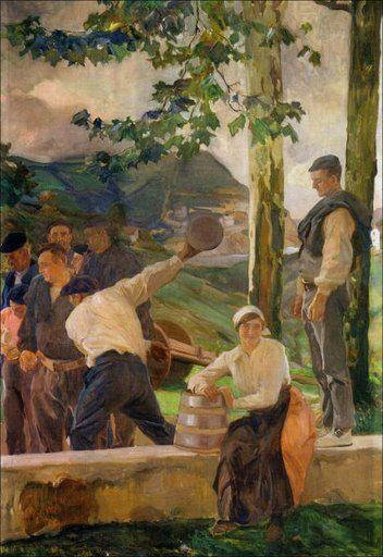 """JOAQUÍN SOROLLA - VISIÓN DE ESPAÑA - """"Guipúzcua: Los bolos"""" (1914)"""