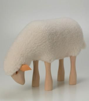 Charming Beautifully Made Wooden Sheep With Real Soft, Sheepskin. The Sheep Are  Strong Enough To Great Ideas