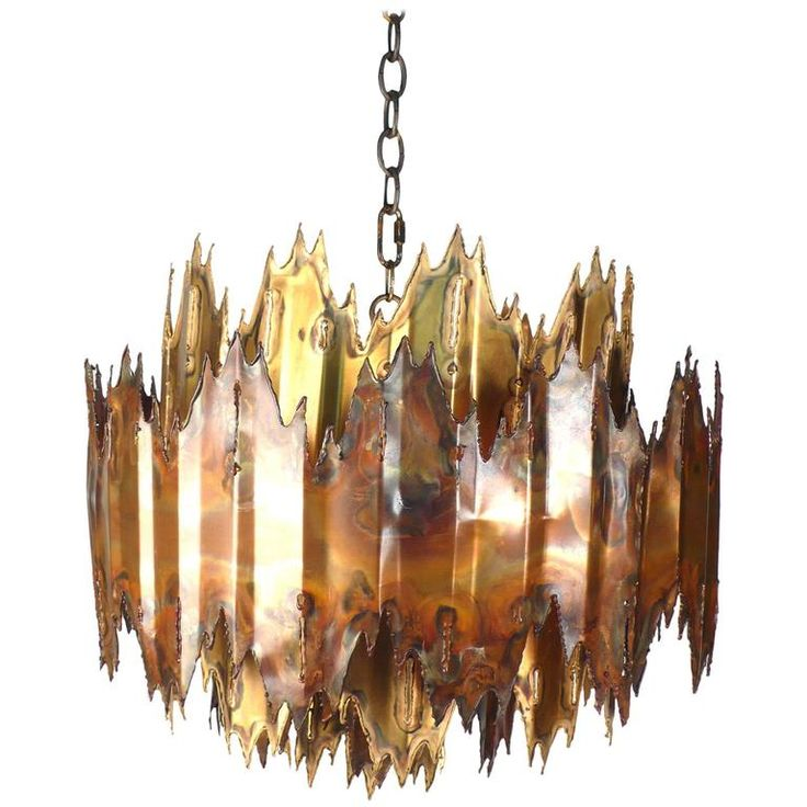 Brutalist Plasma Torch Cut Brass and Copper Chandelier | From a unique collection of antique and modern chandeliers and pendants at https://www.1stdibs.com/furniture/lighting/chandeliers-pendant-lights/