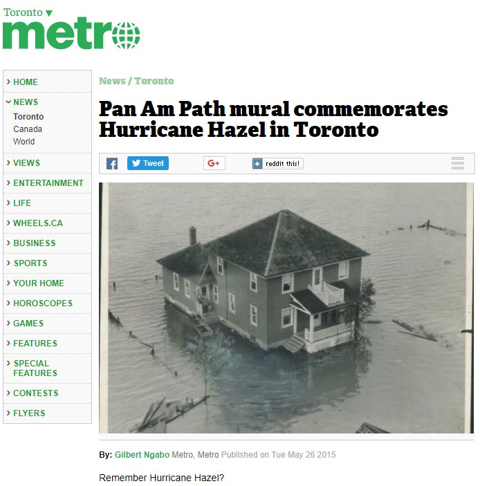 Metro News: Pan Am Path mural commemorates Hurricane Hazel in Toronto